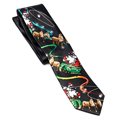 Jerry Garcia Mens Designer Fashion Happy Holiday Tie Party Red Green Black