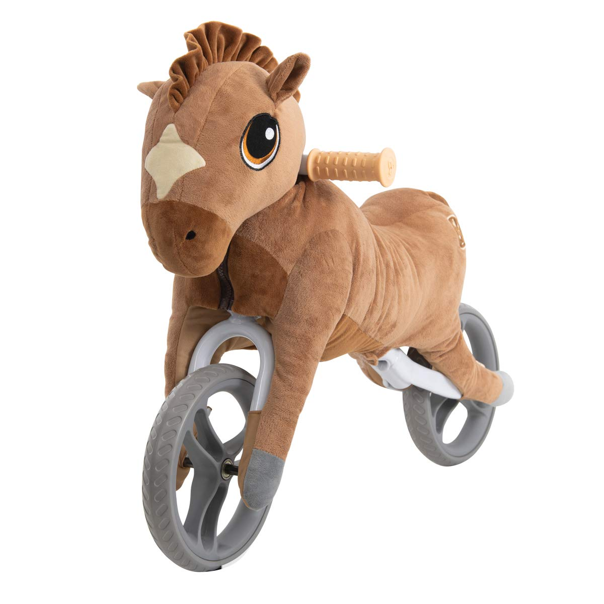 Yvolution My Buddy Wheels Dino Unicorn Horse Balance Bike with Plush Toy | Training Bicycle for Toddlers Age 2 Years + (Horse)