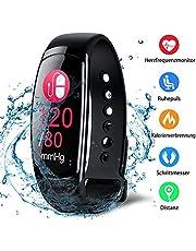 Fitness Trackers Fitness Armband mit Pulsmesser Wasserdicht Farbbildschirm Aktivitätstracker Kalorienzähler Schlafmonitor Vibrationsalarm Schrittzähler mit Anruf SMS Kinder Damen Herren