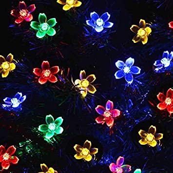 Amzdeal Beautiful 50Led Solar Powered Fairy Lights Outdoor/Outside String  Lights Decorative Lights Party Lights