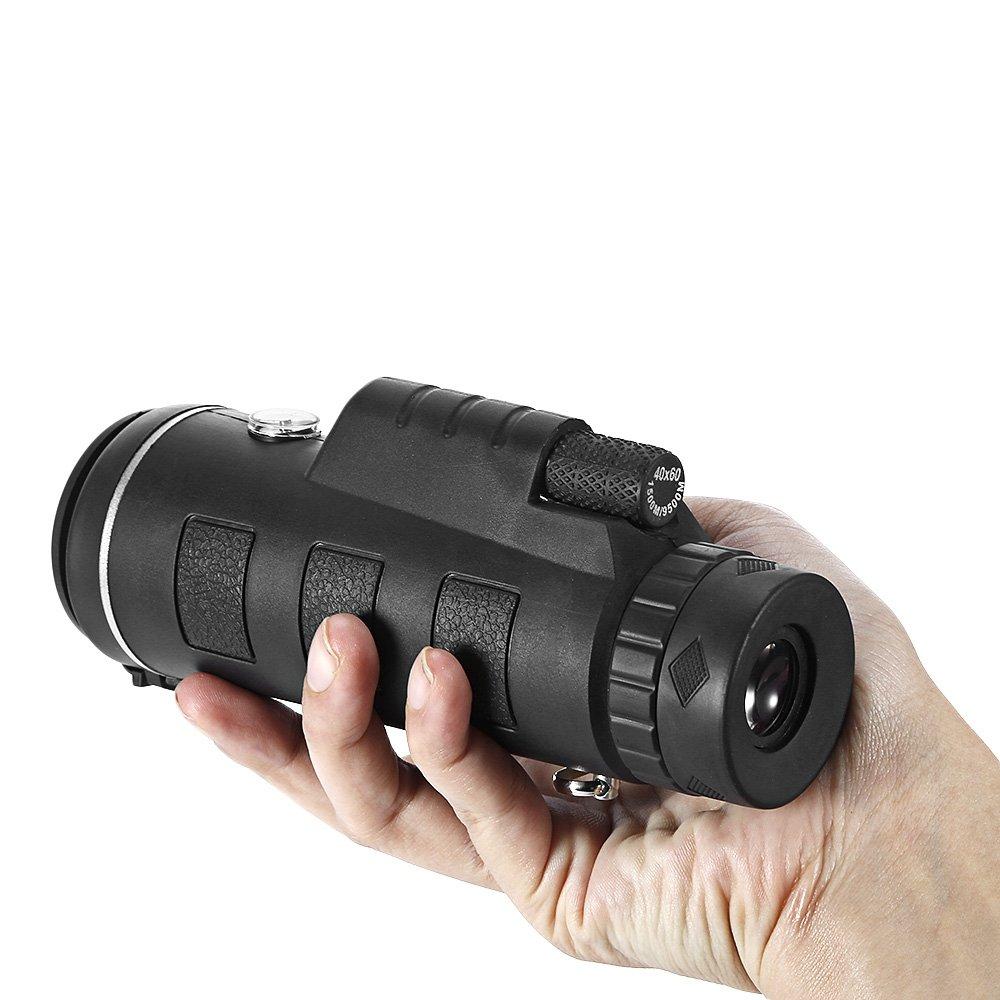 Telescopio 60 monocular Portátil y Duradero DE 40 x 60 Telescopio cm, Gama Prisma HD con Brújula, trípode para Caza/montañismo, Camping/Surveillancia/Entretenimiento/Observación de Aves y Deportes al Aire Libre fda2ca