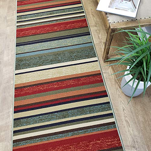 Runner Rug 2x7 Colored Stripes Kitchen Rugs and mats | Rubber Backed Non Skid Living Room Bathroom Nursery Home Decor Under Door Entryway Floor Non Slip Washable | Made in Europe