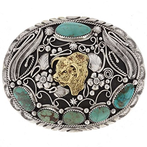 Hereford Bull Western Belt Buckle Navajo Turquoise Gold Silver Design 0056