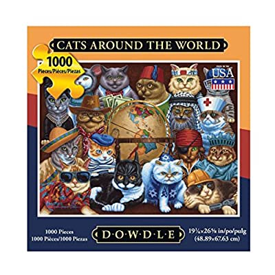 Dowdle Folk Art Cats Around The World Puzzle (1000 Piece): Toys & Games