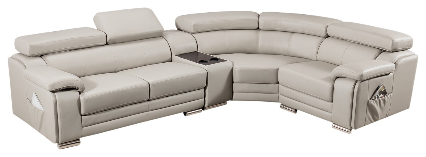 American Eagle Furniture Daphne Collection Modern Top Grain Leather Sectional Sofa With Chaise on Left, Adjustable Headrests, Light Gray
