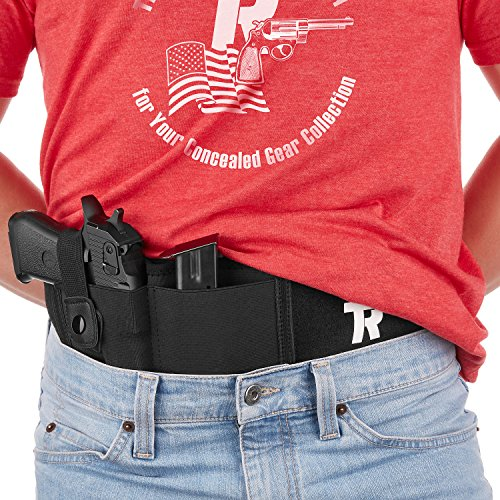 """Belly Band Holster for Concealed Carry for Men & Women - Adjustable 42"""" Gun Belt for Pistols, Revolvers & Handguns - Noiseless Fast-Opening Snap & Anti-Sweat Cotton Lining - BONUS Carry Bag (380 Auto Pistol)"""