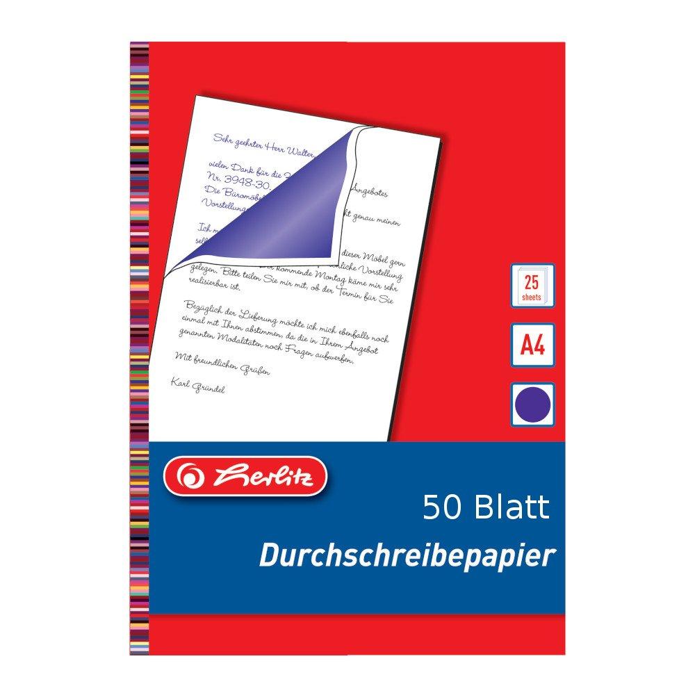 A4 blau-violett Durchschlagpapier 50 Blatt Durschreibepapier