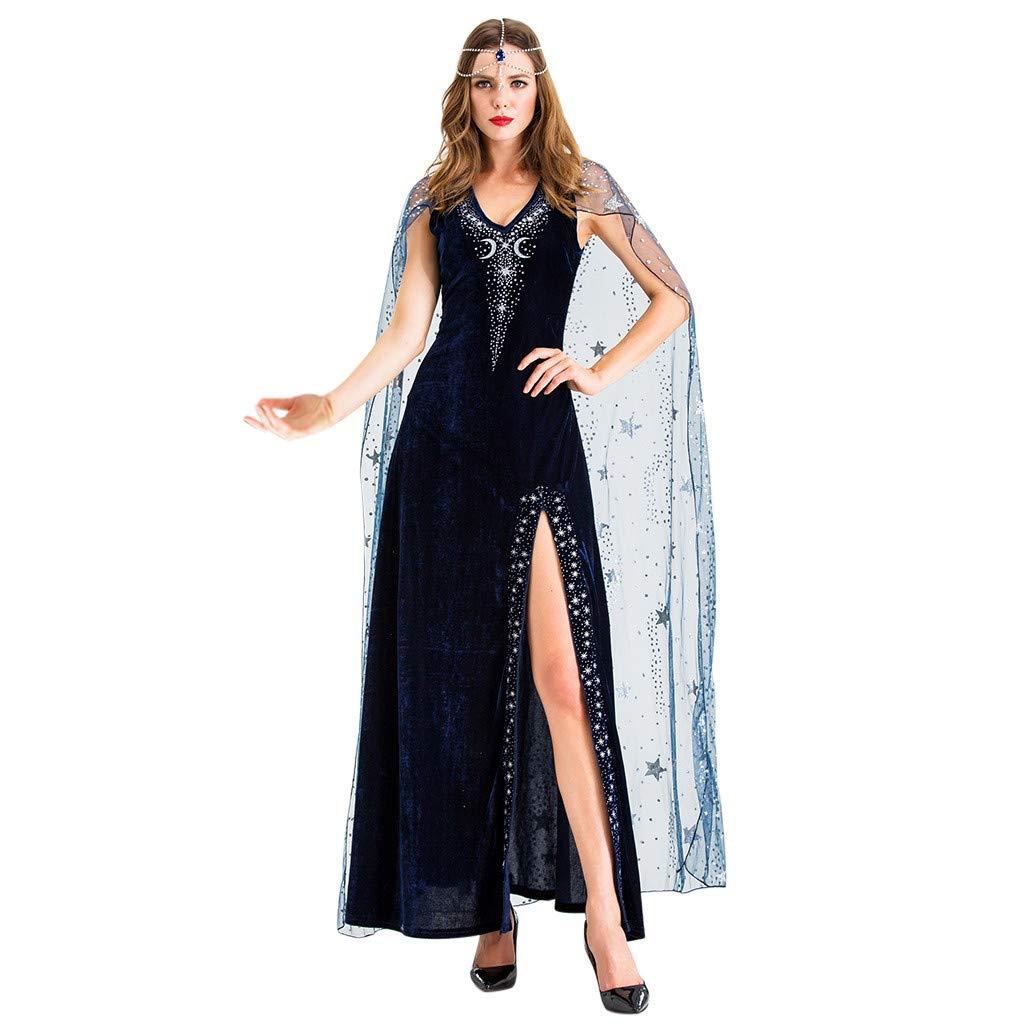 Onegirl Women Halloween Cosplay Vintage Style Pharaoh Star Sexy Split Witch Costume Sleeveless Dress Black by Onegirl-dress