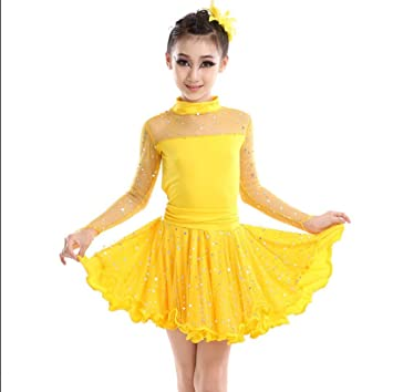 Traje de baile latino Niña de manga larga Vestido de baile latino ...