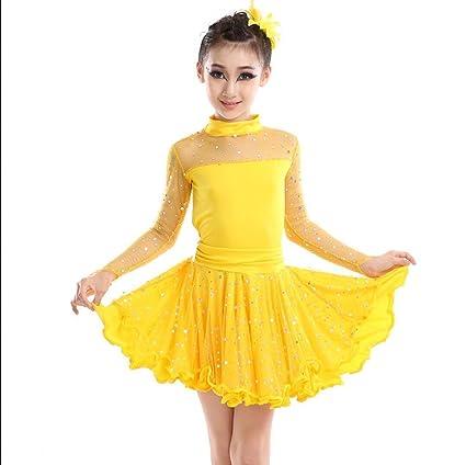 Traje de baile latino Niña de manga larga Vestido de baile ...