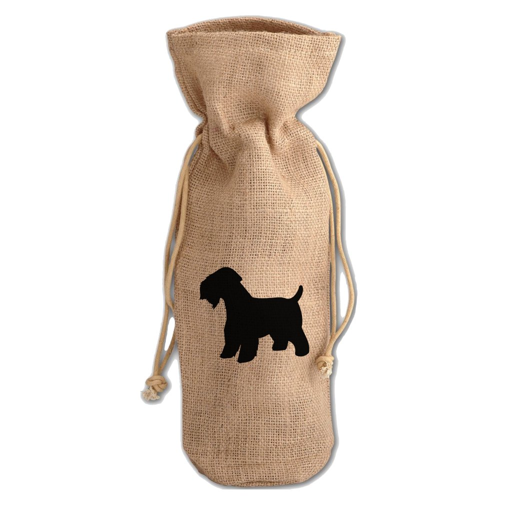 Burlap Wine Drawstring Bag Soft Coated Wheaten Terrier Silhouette by Style in Print (Image #1)
