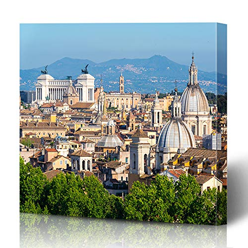 Wall Cityscape Bracket (Ahawoso Canvas Prints Wall Art 16x16 Inches Summer Skyline Aerial Scenic View Rome Italy Cityscape Parks Roma City Old Culture Design Decor for Living Room Office Bedroom)