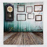 59 x 59 Inches Clock Decor Fleece Throw Blanket A Vintage Clock and Empty Picture Frames in an Old Room Wooden Backdrop Blanket Green and Brown