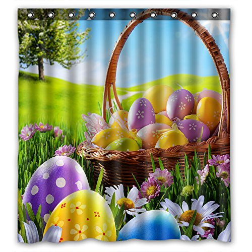 Standard-Store Custom Fashionable Design Happy Easter 2 Waterproof Fabric Polyester Shower Curtain 66
