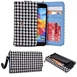 Black/White Women's Universal Houndstooth Smartphone Wallet Case Fits Samsung Galaxy S5 mini Duos|NuVur