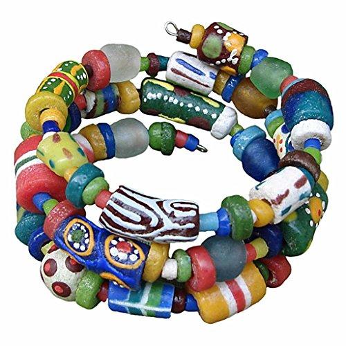 African Handmade Hodge Podge Spiral Bracelet Fair Trade (Glass Spiral Bracelet)