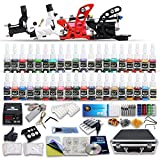 Professional Complete Tattoo Kit 4 Top Rotary Machine Gun 40 Color Inks 50 Needles