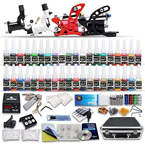 Professional Complete Tattoo Kit 4 Top Rotary Machine Gun 40 Color Inks 50 ()