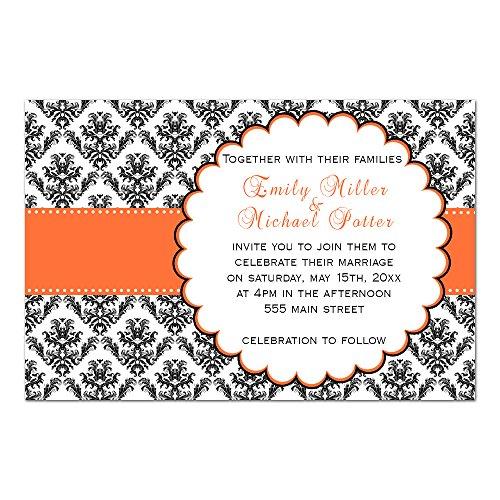 (100 Wedding Invitations Orange Black White Damask Design + Envelopes)