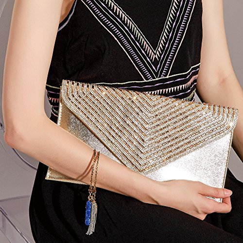 Purse Satin Envelope Gold Evening Pleated Prom Elegant Party Womens Clutch Line WALLYN'S Bag tqwdAUg