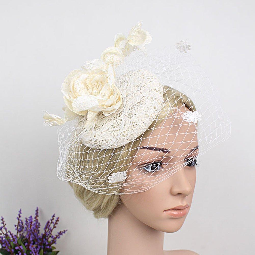 DJHbuy Womens Fascinator Pillbox Hat Flower Mesh Veils Hair Clip Bridal Cocktail Tea Party