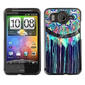 Cubierta de la caja de protección la piel dura para el HTC DESIRE HD / G10 - dream catcher Indian stained glass watercolor