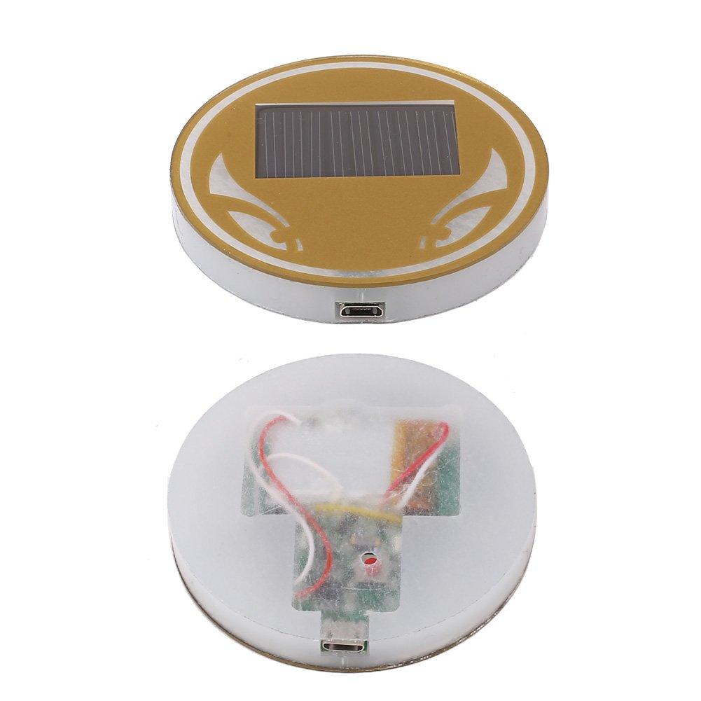 Sedeta Blue Car Interior Solar Energy Cup Holder Bottom Pad Cover Trim LED Atmosphere Light