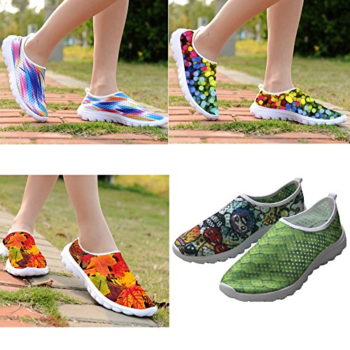For U Diseñes Colorful PigHombrest Print Mujeres Casual Mesh Walk Calzado Verde