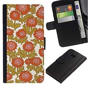 All Phone Most Case / Oferta Especial Cáscara Funda de cuero Monedero Cubierta de proteccion Caso / Wallet Case for HTC One M8 // Golden Brown White Orange Pink