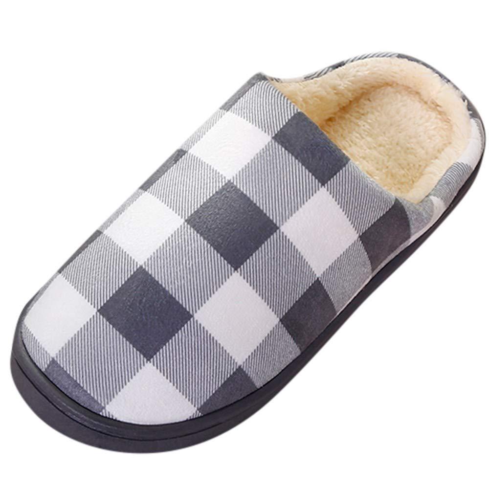 NUWFOR Men Warm Plaid Home Plush Soft Slippers Indoors Anti-Slip Floor Bedroom Shoes(Gray,9.5-10.5 M US)