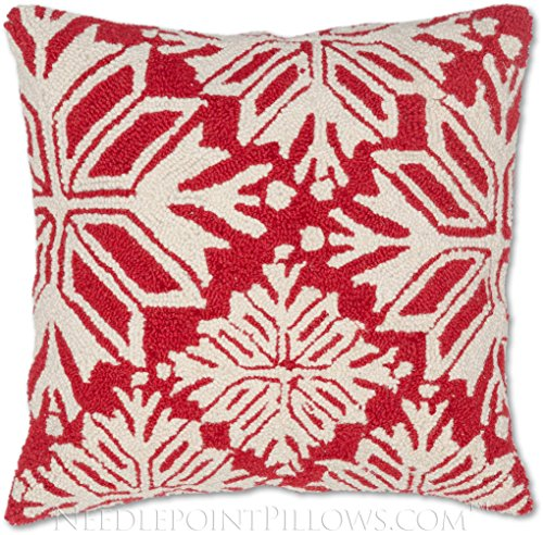 Traditional Handmade 100% Wool Hooked Holiday Throw Pillow of Christmas Tree with Swarovski Crystal Style Snowflake Ornament. 18