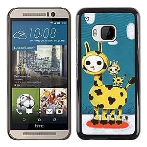 TopCaseStore / la caja del caucho duro de la cubierta de protección de la piel - Cute Giraffe Family - HTC One M9
