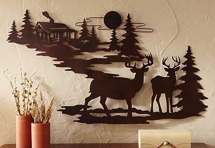 Amazon.com: Deer & Woodland Cabin Metal Wall Art - Iron Deer Wall ...