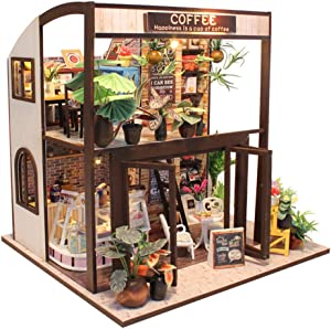 DIY DOLLHOUSE Fsolis Miniature Kit with Furniture, 3D Wooden Miniature House with Dust Cover and Music Movement, Miniature Dolls House kit Coffee House M27