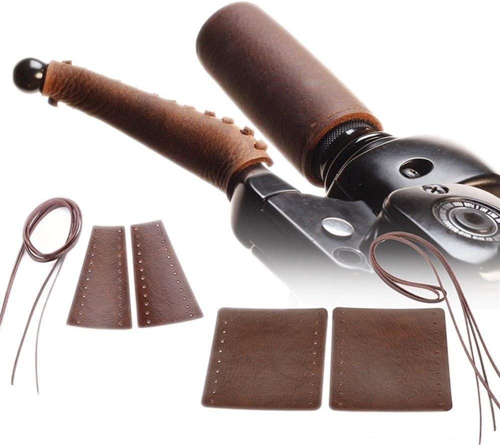 Brown Pesado Leather Grips Motocicleta manija del pu/ño del Acelerador Covers Retro Wraps 22mm Manillar for los caf/és Old School Racer Color : A1