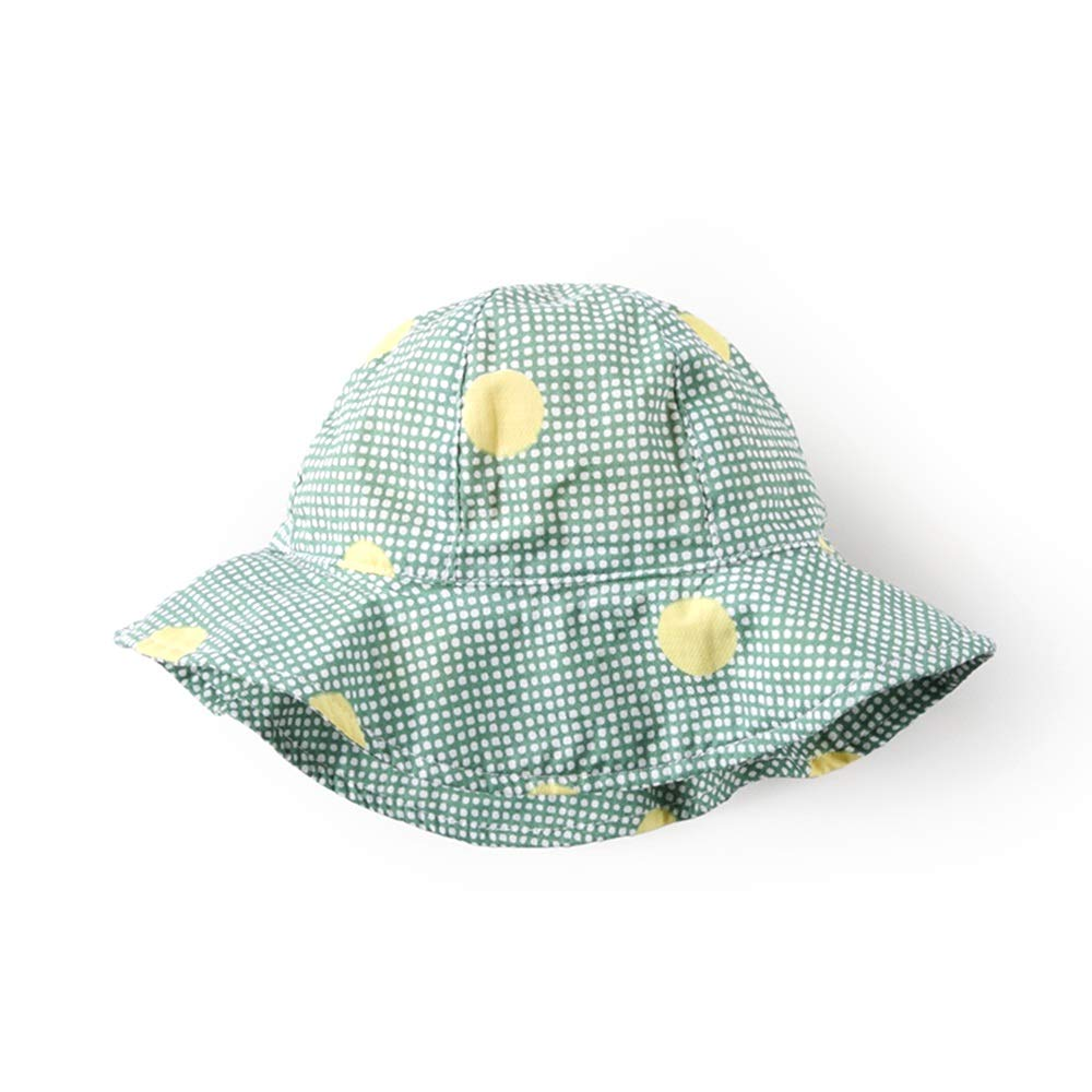 NN Sun hat Fisherman hat Wide Side Spring and Summer Thin Section, Chin Rope, Good Sunshade Effect, Infants, a Variety of Colors to Choose from Children's Outdoor Equipment (Color : L Green dots)