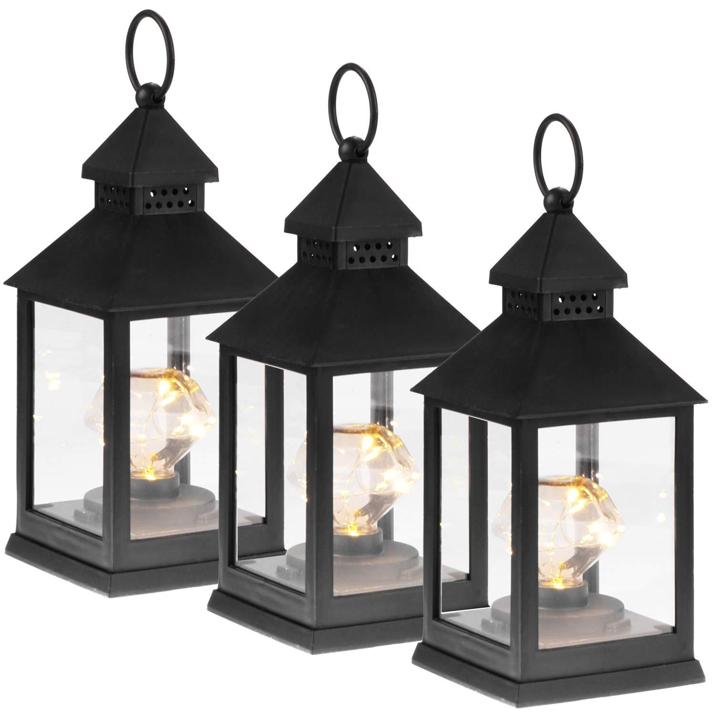 Iluminaci/ón LED para Navidad com-four/® Linterna LED 3X con funci/ón de Temporizador 03 Piezas - Diamante Negro Linterna el/éctrica a bater/ía como decoraci/ón navide/ña