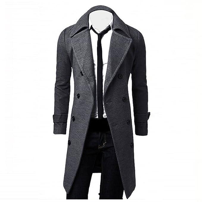 BESSKY Autunno Inverno Uomo Formale singolo Breasted capire Cappotto Giacca  di lana Lungo Giacca  Amazon.it  Abbigliamento 29a1c6d576c