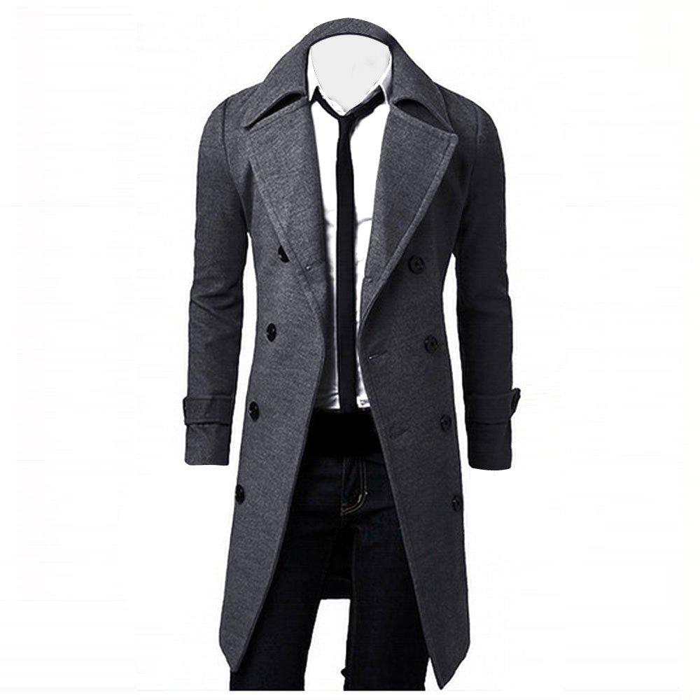 Men's Coat for Winter Men Slim Stylish Trench Coat Double Breasted Long Parka, Top Coat Ennglun