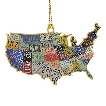 Amazoncom ChemArt USA License Plate Map Ornaments Home Kitchen - Us liscense plate map