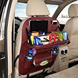 2 Pack PU Leather Car Back Seat Organizer Storage with Foldable Table Tray for Baby Kids - Burgundy