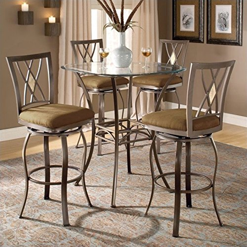 Bar Height Bistro Table - Beveled Glass Top and 4 Stools (Glass Top Pub Table Sets)