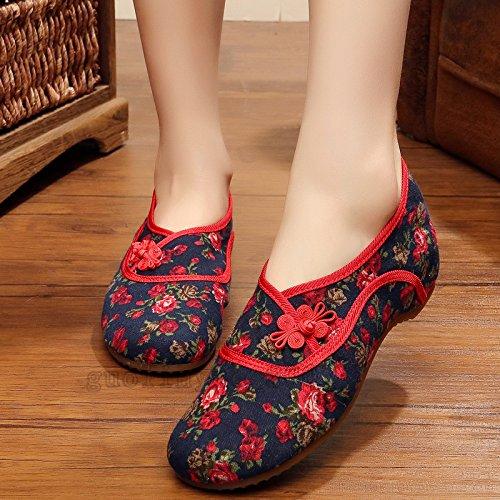 KHSKX-Nordost Folk Blume Stoff Bestickt Schuhe Alte Schuhe In Peking Die Erhöhung Der Tief Unten Sehnen Ende Verdickung Schuhe Export gules