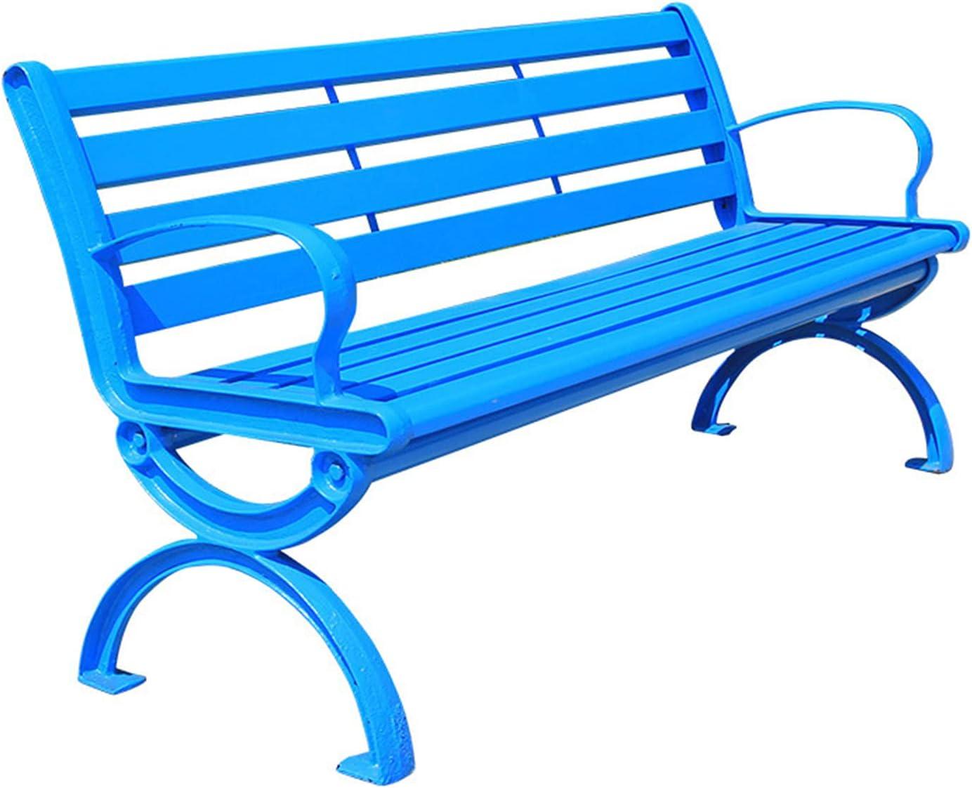 Ocio Al Aire Libre Banco Del Parque Banco,marco De Hierro Fundido De Metal Parque De Madera Maciza Banco Silla Jardín Con Respaldo Y Apoyabrazos,adecuado Para Terraza En El Jardín Porche Césped,azul