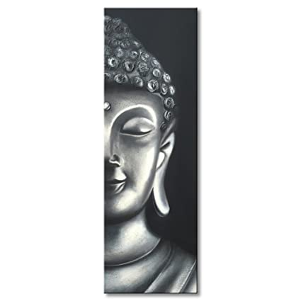 Amazon.com: Hand Painted Modern Buddha Head Oil Painting Canvas Wall ...