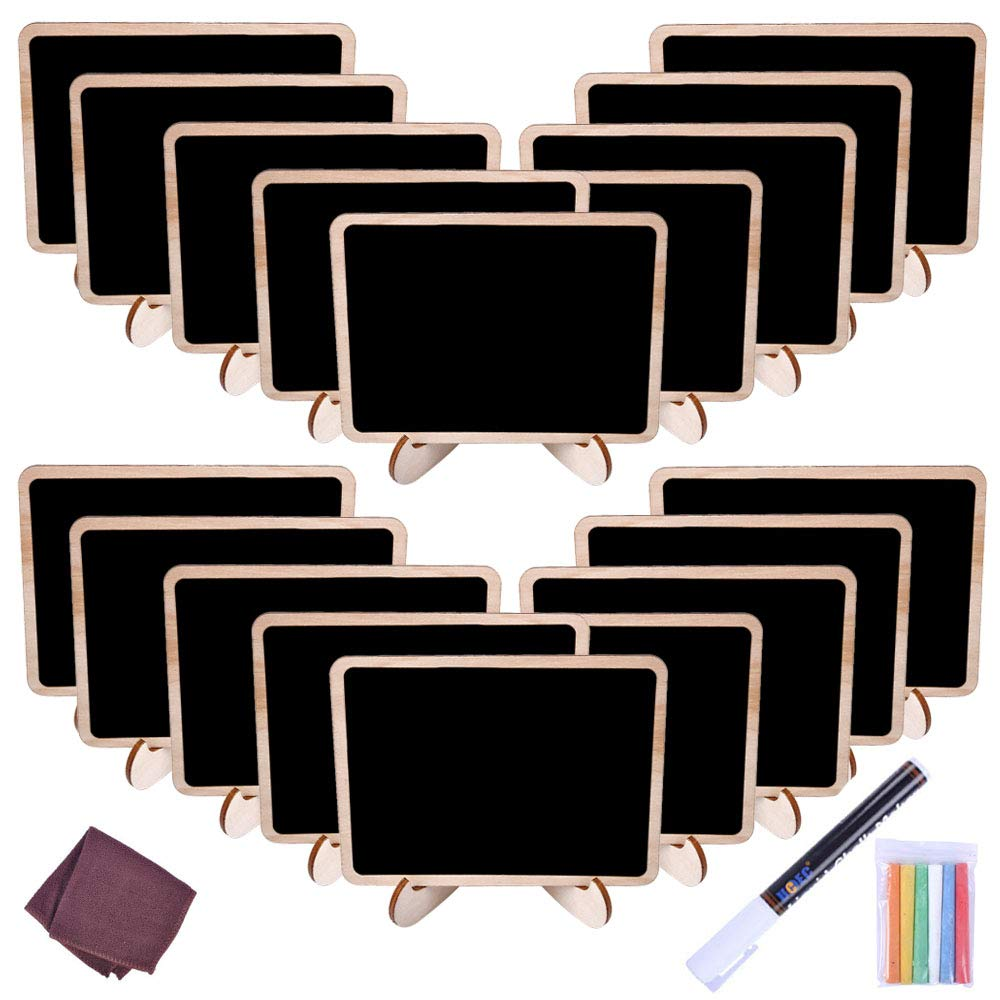 UCEC Chalkboard Labels Mini Chalkboards Signs, 20 Pack Small Chalkboards Blackboard with Easel Stand for Weddings, Birthday Parties, Message Board Signs and Event Decorations