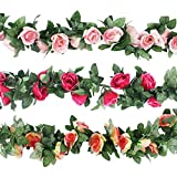 CEWOR 3pcs (22.6 Feet) Artificial Rose Vine Fake Flower Garland for Wedding Home Garden Party Decoration (Champagne, Pink, Hot Pink)
