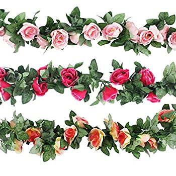 Amazon yiliyajia artificial rose vine garlandssilk flowers cewor 3pcs 226 feet artificial rose vine fake flower garland for wedding home garden mightylinksfo