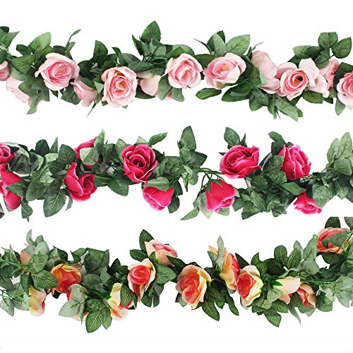 CEWOR 3pcs (22.6 Feet) Artificial Rose Vine Fake Flower Garland for Wedding Home Garden Party Decoration (Champagne, Pink, Hot Pink) (Colorful)