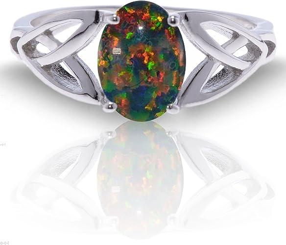 Black Opal Oval Shape Ring .925 Sterling Silver